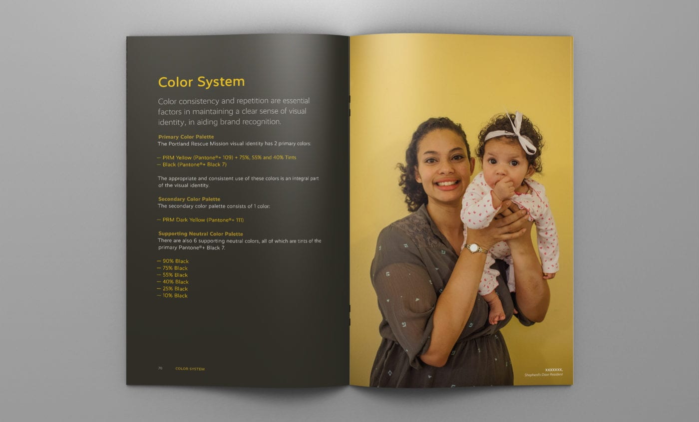 Portland-Rescue-Mission Brand Guidelines; Color System