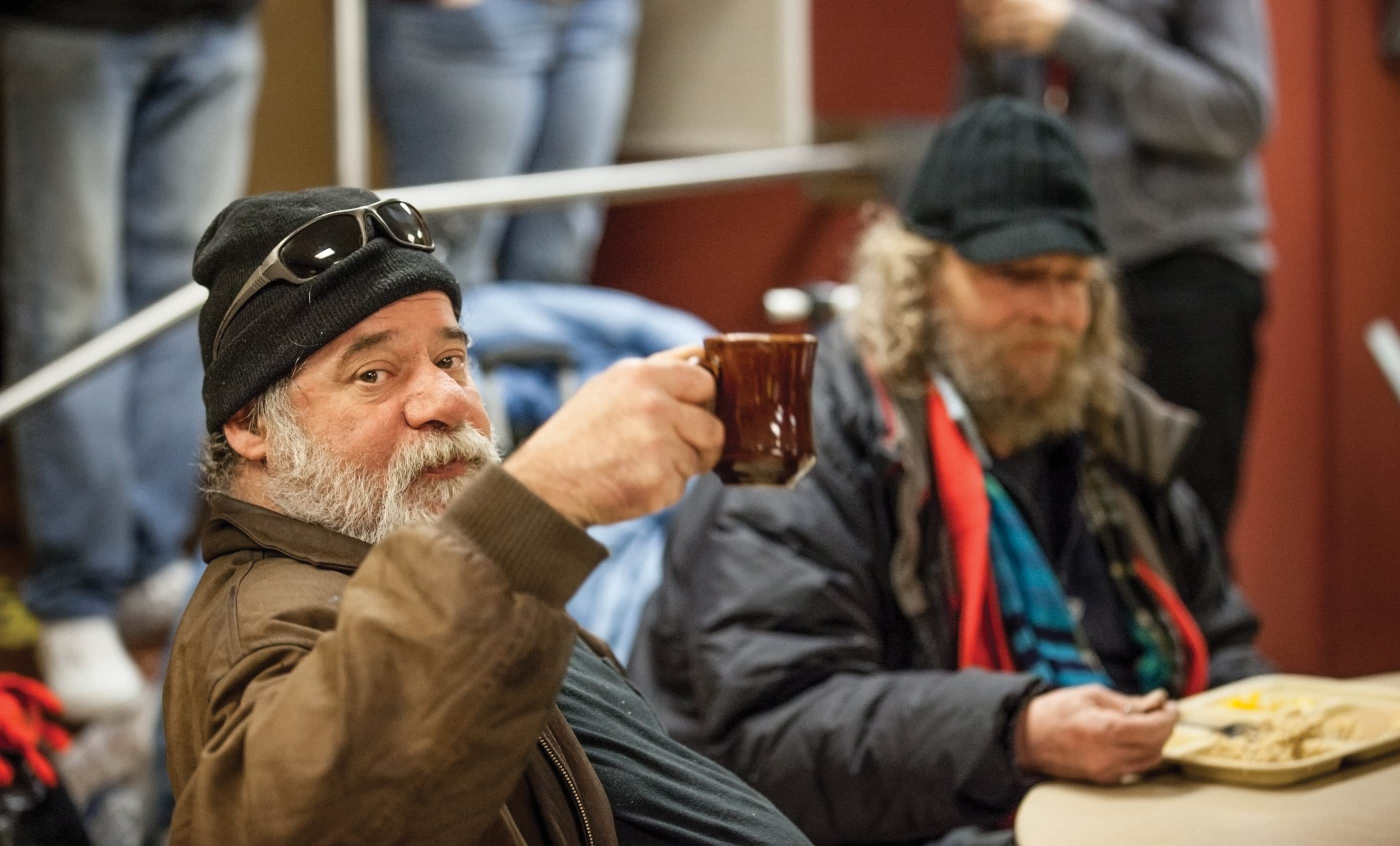 Portland Rescue Mission Photography; Man Toasting