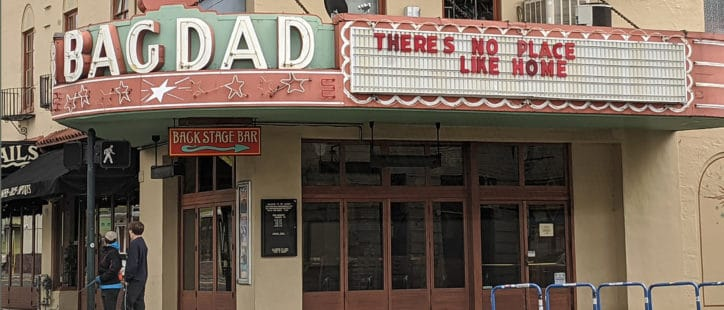 Bagdad Theater Marquee Covid Messaging