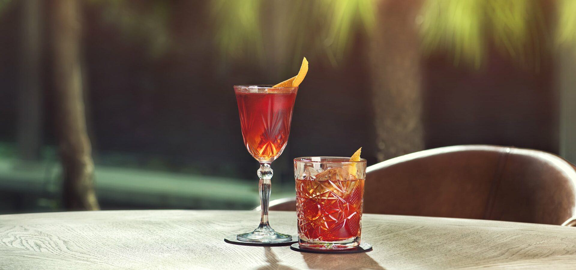 Negronis on a table outside