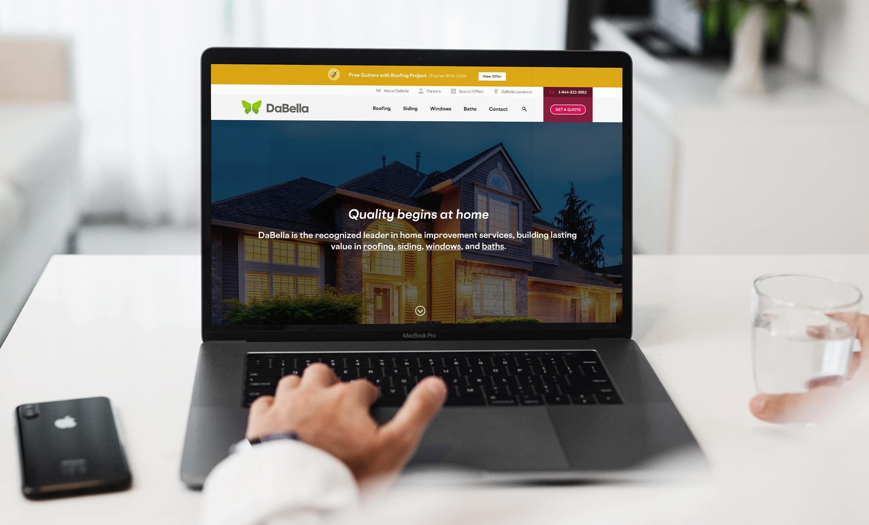 DaBella Website Macbook, Home Page