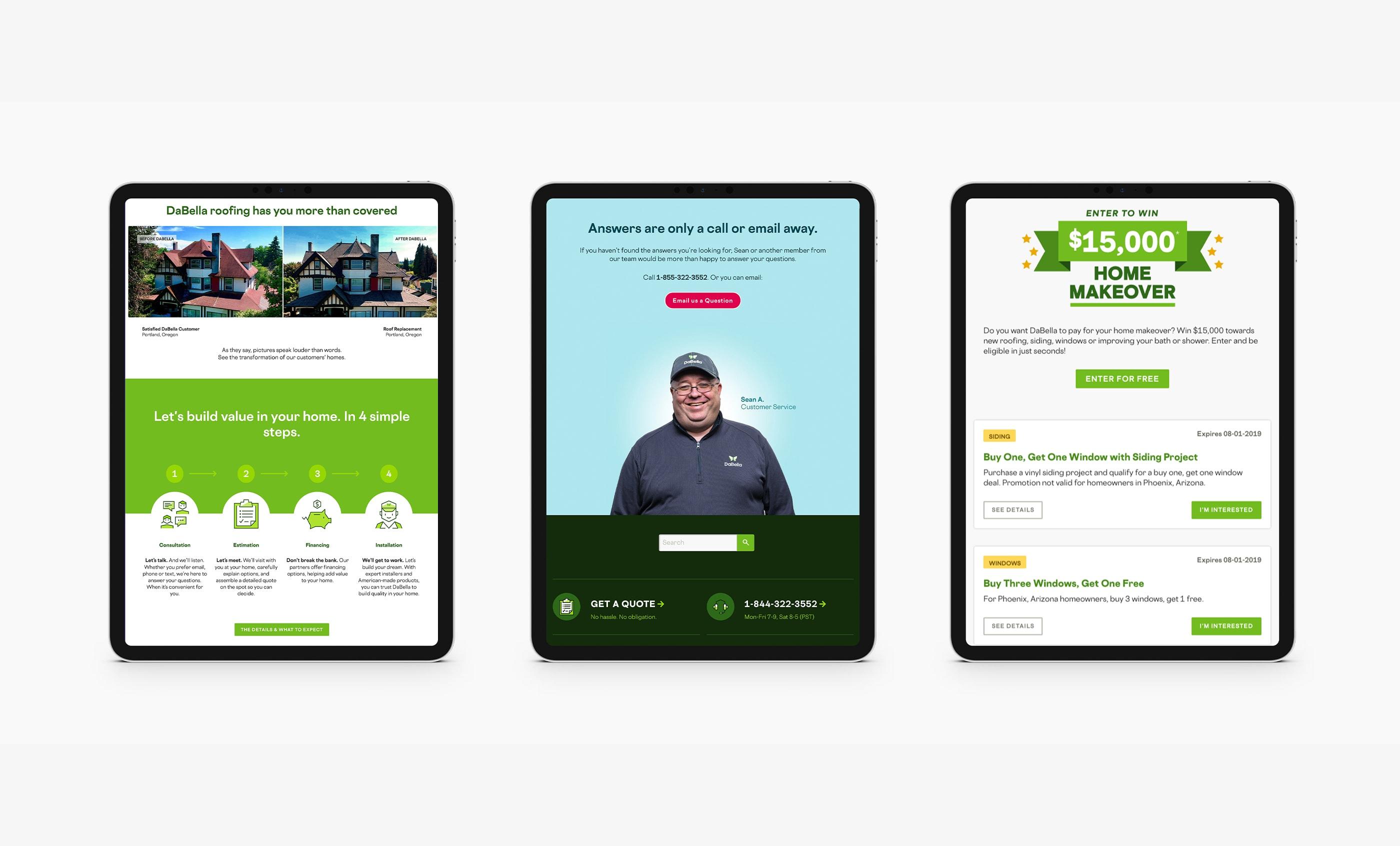 DaBella Website on iPad, Customer Service