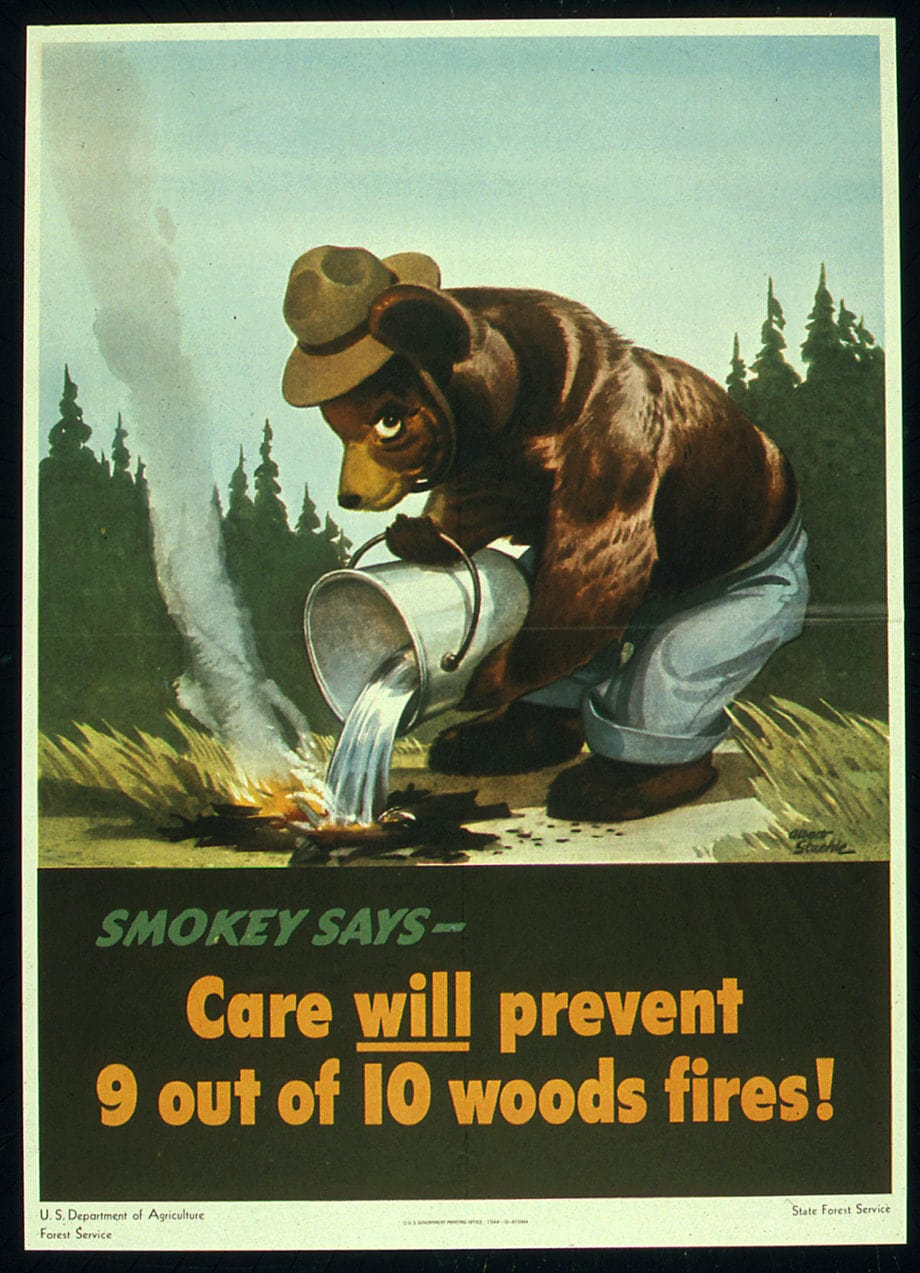 """Smokey Bear Poster, """"Smokey says — Care will prevent 9 out of 10 woods fires!"""""""