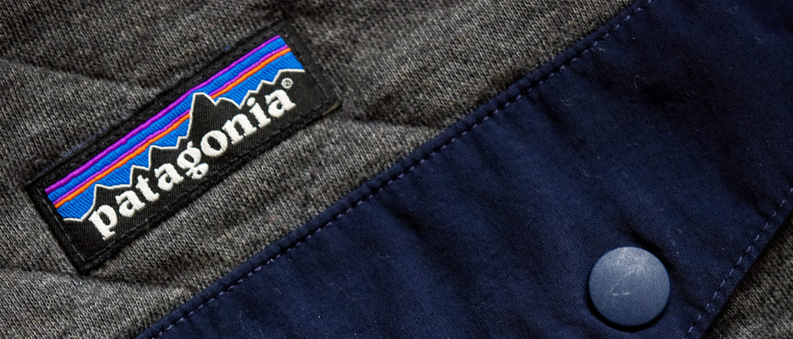 Patagonia logo on gray quilted jacket
