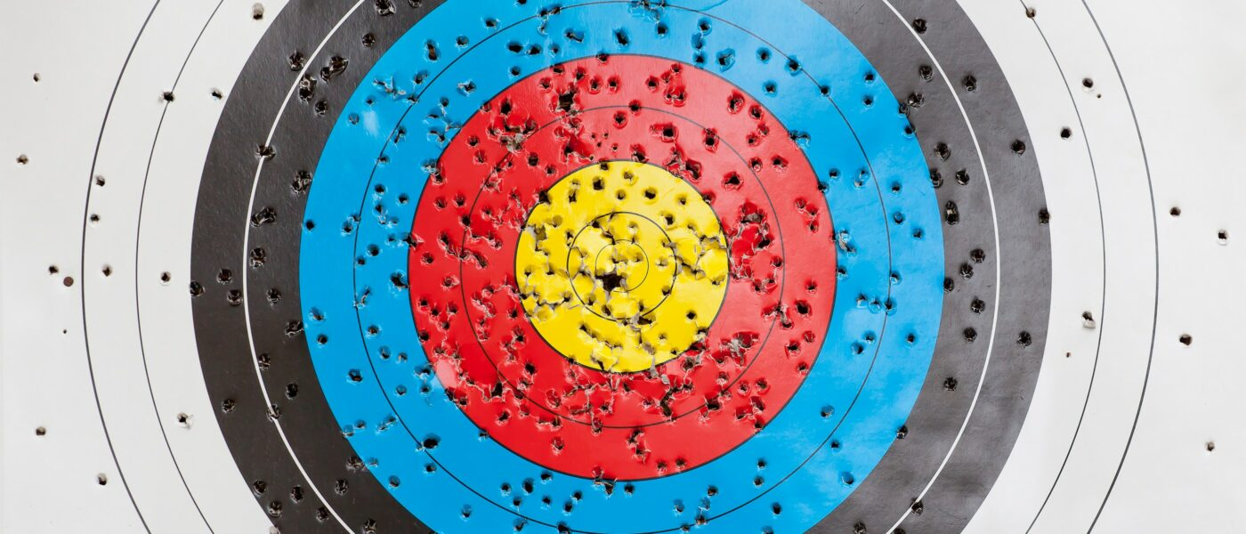 Archery target with many holes