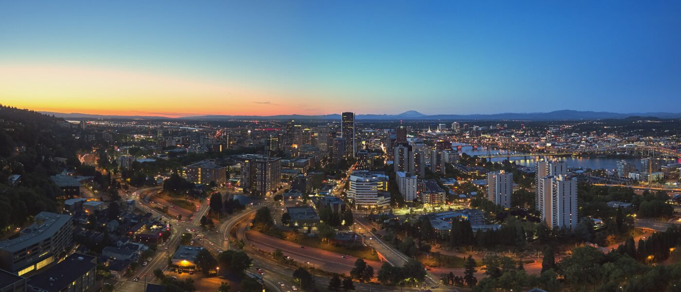Downtown Portland, Oregon skyline, facing North