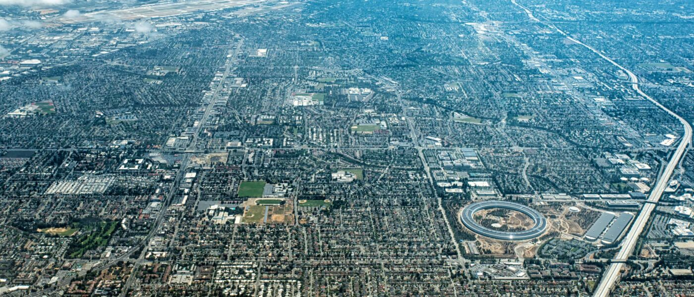 Silicon Valley aerial view; Apple campus lower right